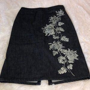 Ann Taylor Denim Floral Print Pencil Skirt - 4